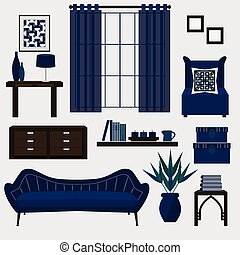 Living room furniture and accessories icons set in color navy blue