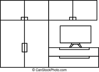 Living room furniture icon, outline style