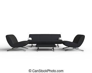 Living Room Furniture Set - Black