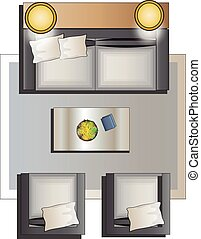 Living room furniture top view set1