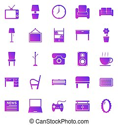Living room gradient icons on white background