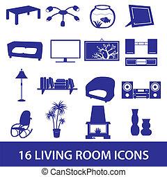 living room icon set eps10