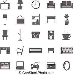 Living room icons on white background