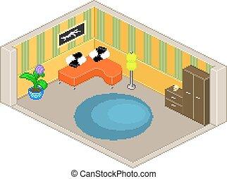 Living room illustration isometric