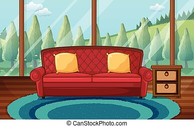 Living room - Illustration of a classic living room