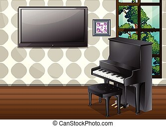 Living room - Illustration of a living room with piano