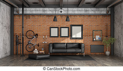 Living room in a loft with black sofa against brick wall - 3d rendering