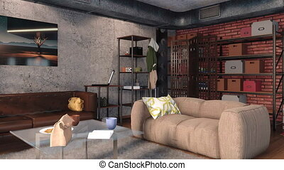 Living room in loft interior design 3D animation 4K - Modern...