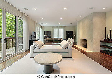 Living room in luxury home - Living room with fireplace in...