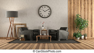 Living room in rustic style