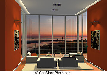 living room in sunset