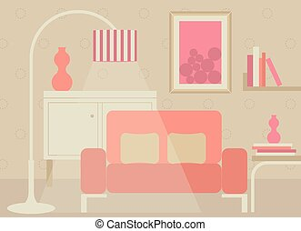 Living room in sweet tone full with furnitures