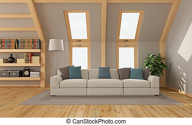 Living room in the attic