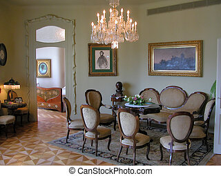 Living room in the Casa Mila - The antique living room in...
