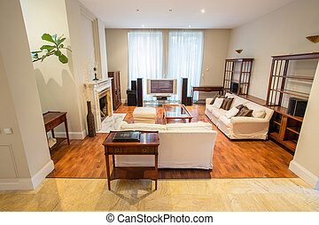 Living room inside expensive house - View of living room ...