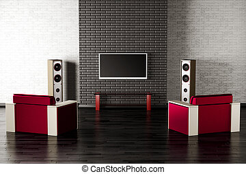 living room interior 3d - living room interior with tv, two...