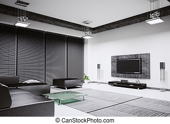 Living room interior 3d render - Living room with sofa and...