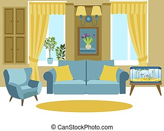 Living room interior. Cartoon vector illustration flat