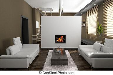 living room interior - modern living room interior (3D...