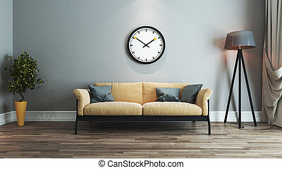 living room interior design idea with watch