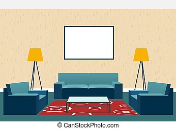 Living room interior design in flat style including armchairs, sofa, glass table, lamp and empty picture frame.