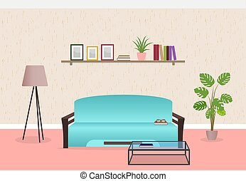 Living room interior design in flat style including furniture, sofa, glass table, lamp and bookshelf.