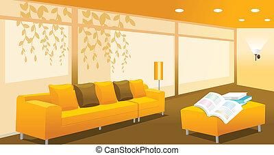 Living room interior - A orange living room or meeting room....