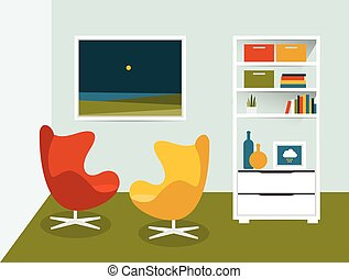Living room interior. Flat design vector illustration.
