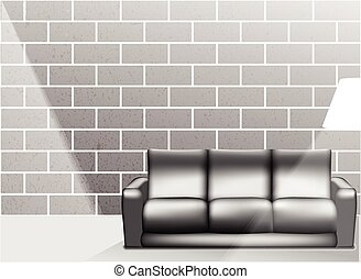 Living room interior in black and white style - Vector Illustration