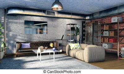 Living room interior in loft style flat 3D design 4K