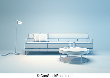 Living-room interior in minimalism style 3d render