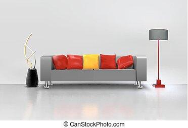 Living Room Interior - Modern minimalistic living room...
