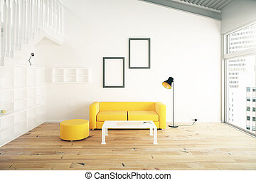 Living room interior design with yellow sofa, blank picture...