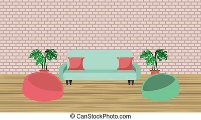 living room interior sofa cushions potted plant and ceiling...