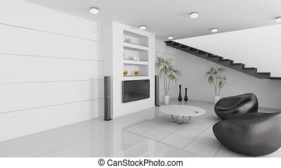 Living room interior black armchairs and lcd 3d animation