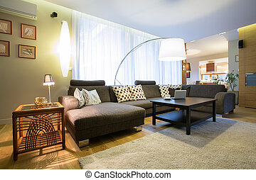 Living room interior - View of living room in modern...