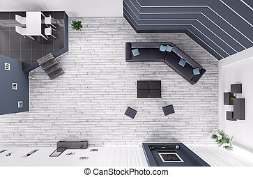 Living room interior top view 3d render
