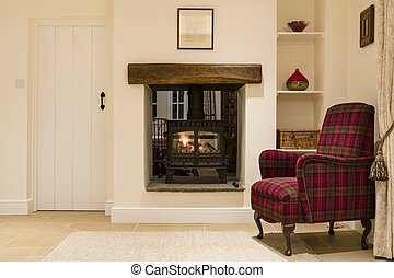 Living room interior, UK