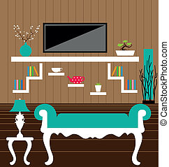 Living room interior vector