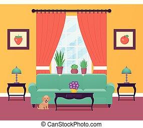 Living room interior. Vector illustration. Flat design.