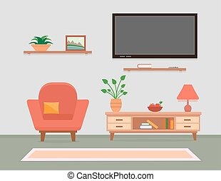 living room interior with armchair and furniture