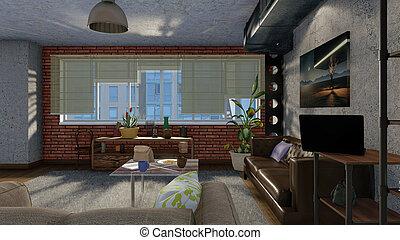 Living room interior with big window in loft 3D