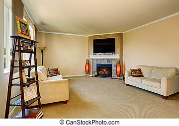 Living room interior with fireplace and two comfortable sofas.