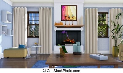 Living room interior with fireplace at daytime 4K - Modern...