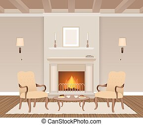 Living room interior with fireplace, armchairs, candles, lamps and photoframes.