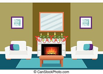 Living room interior with fireplace. Flat vector illustration.