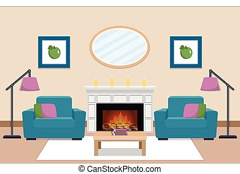 Living room interior with fireplace. Vector illustration.