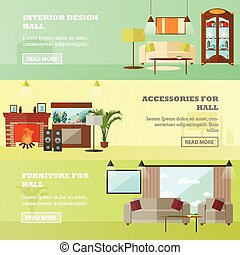 Living room interior with furniture. Concept vector illustration in flat style
