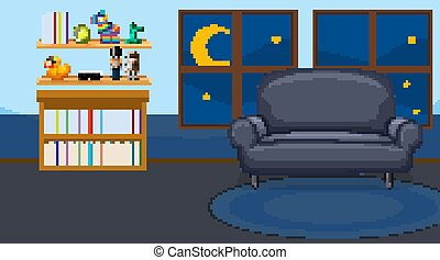 Living room interior with furniture in blue color theme