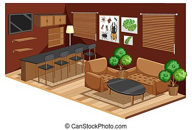 Living room interior with furniture in brown color style illustration